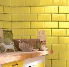 Metro 20x10cm Yellow Gloss Bevelled Edge Tiles(1 Box/SQM 50 Tiles Per Box)