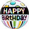 Qualatex HAPPY BIRTHDAY BUBBLE Balloons - Helium Party Balloon Decoration