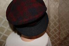 KENT [VINTAGE 1930'S ERA] MADE IN ITALY:  Red Gray Plaid Bakerboy Men Cap Hat