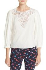 REBECCA TAYLOR Lace Inset Cotton Poplin Shirt, Size 10