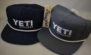 YETI Coolers Baseball Hat Ball Cap Snapback Adjustable Grey Blue White Polyester