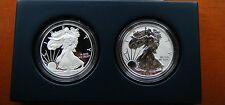 2012 S REVERSE PROOF SILVER EAGLE 2 COIN 75TH ANNIVERSARY SET WITH BOX/COA