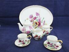 More details for ceramic miniature tea set on a tray pink poppy flowers design.
