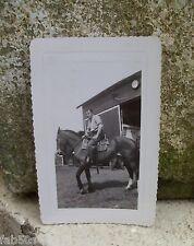 Vtg Photo Snapshot 30's 40's Race Horse Horseback Equestrian Stable Barn