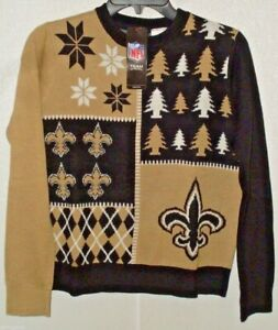 NFL New Orleans Saints Busy Block Ugly Sweater Youth Size Youth Large by FOCO