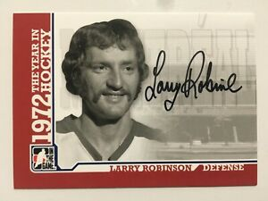 2009-10 ITG 1972 THE YEAR IN HOCKEY AUTOGRAPHS A-LR LARRY ROBINSON AUTO