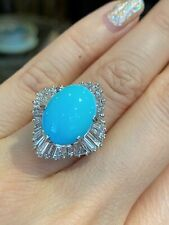 Oval Turquoise & Diamond Ballerina Cocktail Ring in Platinum - HM2171SE