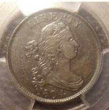 1804 Draped Bust Half Cent (Plain 4, No Stems) PCGS AU55