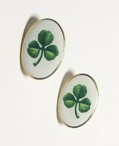 """Porcelain Hand Painted White Gold Green Pierced Earrings 7/8"""" x 5/8"""""""