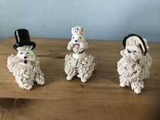Antique/vintage 3x beautiful Poodle  Figurines/collectable Cute Dogs Ornaments