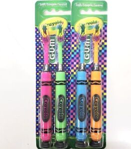 GUM Crayola Suction Cup Base Toothbrush Soft 2 CT 2PKS 4 Toothbrushes In Total