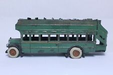 """NICE ANTIQUE CAST IRON ARCADE YELLOW COACH GREEN DOUBLE DECKER BUS 13"""""""