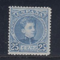 ESPAÑA (1901) NUEVO CON FIJASELLOS MLH SPAIN -EDIFIL 248 (25 cts) ALFONSO XIII