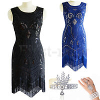 1920's Flapper Dress Great Gatsby Sequins Art Deco Fringed Party Vintage Dresses