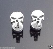 The Punisher Marvel Hero SILVER Skull Stud PAIR Ear Ring Earrings Biker Punk