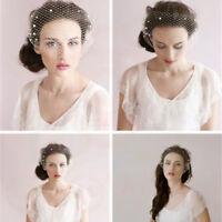 Glowish White Bridal Wedding Face Veil Birdcage Net Style Fascinator Hair Pin #2