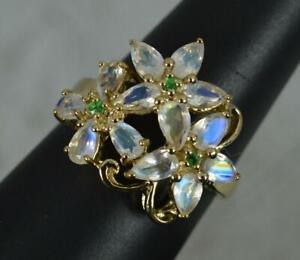 Impressive Triple Flower Moonstone and Green Garnet 9ct Gold Cluster Ring