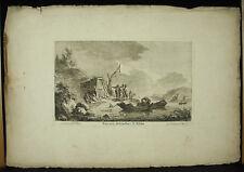Franz Edmund WEIROTTER Lyon c1770 bateaux descendant le Rhöne gravure XVIIIe