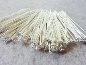 200 pce Bright Silver Tone Straight Head Pins 50mm Long Jewellery Making Earring