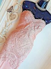 LIPSY VIP SZ 12 LACE EMBELLISHED NUDE SWEETHEART BANDEAU MAXI DRESS NWT RRP £130