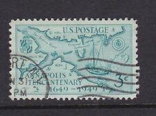 USA 1949 Annapolis Maryland 300th Anniversary Scott 984 USED 3c Map Ship