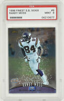 1998 Topps Finest Super Bowl XXXIII Randy Moss Promo #6 Rookie Card RC PSA 9