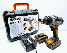 WORX WX372 20V Cordless Hammer Drill with 2x 4.0Ah Li-ion Batteries. New in Box