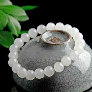 Natural 8mm White Jade Round Gemstone Beads Stretchy Bracelet 7.5'' AAA++