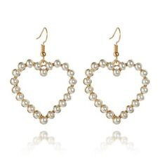 Piercing Earrings Women Girl Jewelry White Pearl Love Heart Earring Drop Dangle