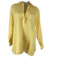 Soft surroundings woman's linen blouse top tunic size extra large yellow New