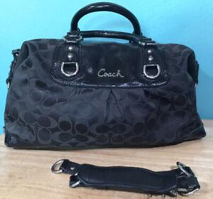 Coach Large Satchel Handbag Shoulder Bag F15440 Black Script Emblem Rare
