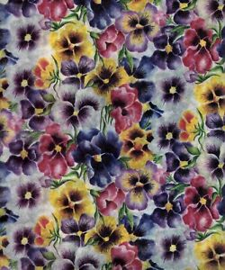 Vintage Sally Foster Pansy Gift Wrap Tissue Wrapping Paper 2 ft x 4 ft Flowers