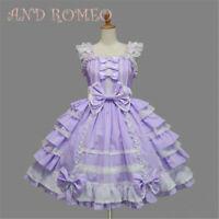 Lolita Gothic Maid Purple Dress Uniform Cosplay Costume Halloween