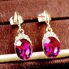Rose Gold Filled Pink Oval Drop Dangle Earring Made With Swarovski Crystal IE16
