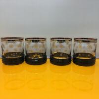 Set of 4 Vintage Mid Century Bar Rocks Glasses Winter Snowflake Gold Trim