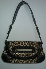 GUESS Leopard Print Shoulder Bag Handbag Tote Purse Shiny Silver Metal Studs!