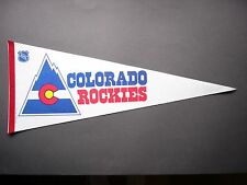 RARE EARLY 1980'S COLORADO ROCKIES NHL HOCKEY PENNANT FLAG SHARP!! TRENCH MFG