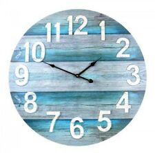 LARGE 60cm WALL CLOCK Teal Bold Raised Numbers Retro Beach Kitchen Home Office