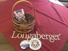 Longaberger Inaugural basket, protector, liner, bag, card & w promo buttons