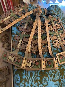 Antique Art Deco Period Chandelier Light Fixture 5 Bulb Polychrome Gothic