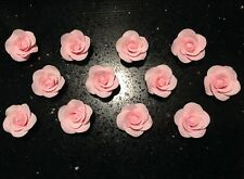 Edible Sugar Flowers - 12 Pink Mini Roses - Cake Decorating, Toppers, Wedding
