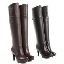 Womens Shoes Synthetic Leather Platform High Heels Over Knee Boots UK Size b075