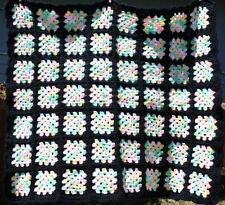 Handmade Crochet Afghan Throw Baby Blanket 35 X 35 Black with Pastel Colors