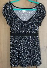 Motherhood Maternity Blouse Tunic Ties in Back Black Blue Polka Dot Size Large