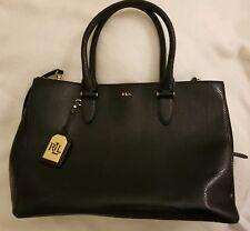 Lauren Ralph Lauren Newbury Double Zip Leather Satchel Handbag w/strap