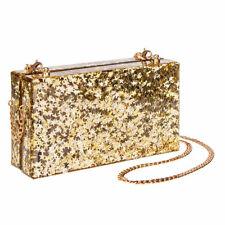 Blue Banana Star & Glitter Gold Box Clutch/Chain Strap Shoulder Bag