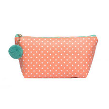 Piuttosto Piccolo Arancione A Pois Moda/make-up Cosmetic Bag & Carino Pom Pom-CS133
