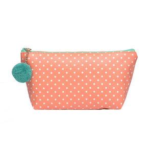 Pretty Small Orange Polka Dot Fashion/Make-up Cosmetic Bag & Cute Pom Pom -CS133