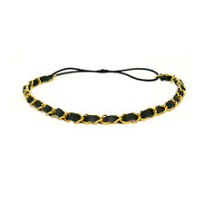 Mia Fashion Headband, Headwrap Hair Accessory, Leather with Chain, Black, Gold
