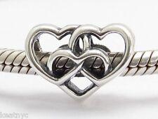 INFINITY HEARTS CHARM BEAD Sterling Silver .925 for European Bracelet 691